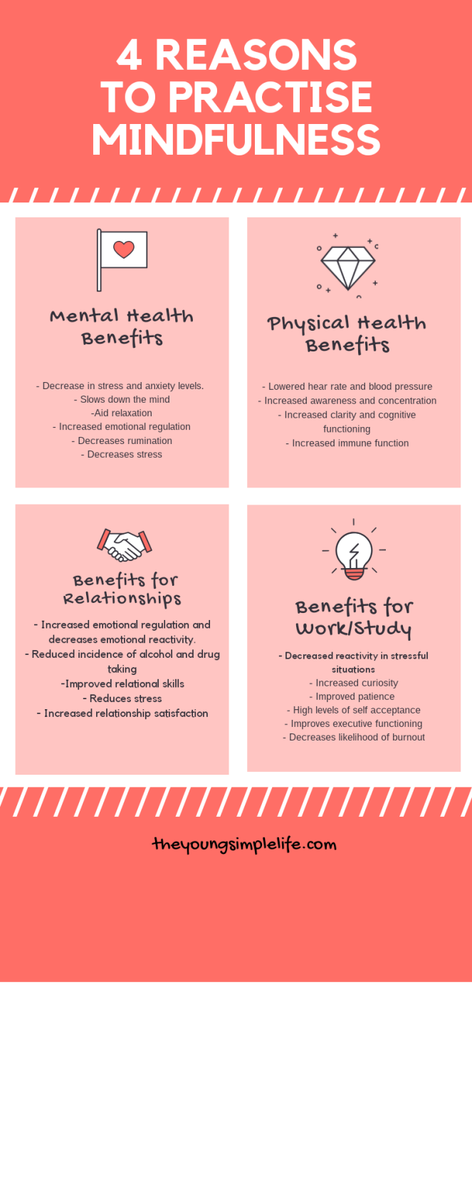 Pink background reasons for the benefits of mindfulness, work relationships mental health physical health