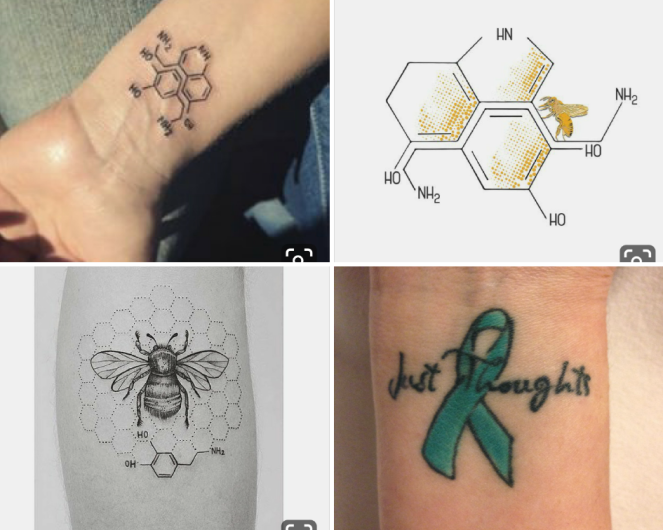 Arm tattoos for OCD. Serotonin molecules